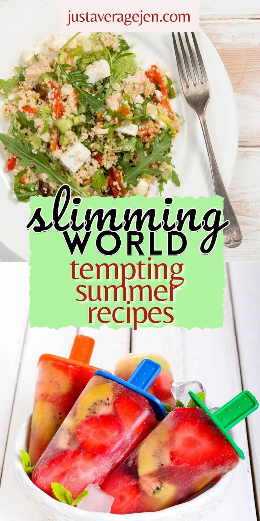 A plate of food on a table, with Summer and Slimming World