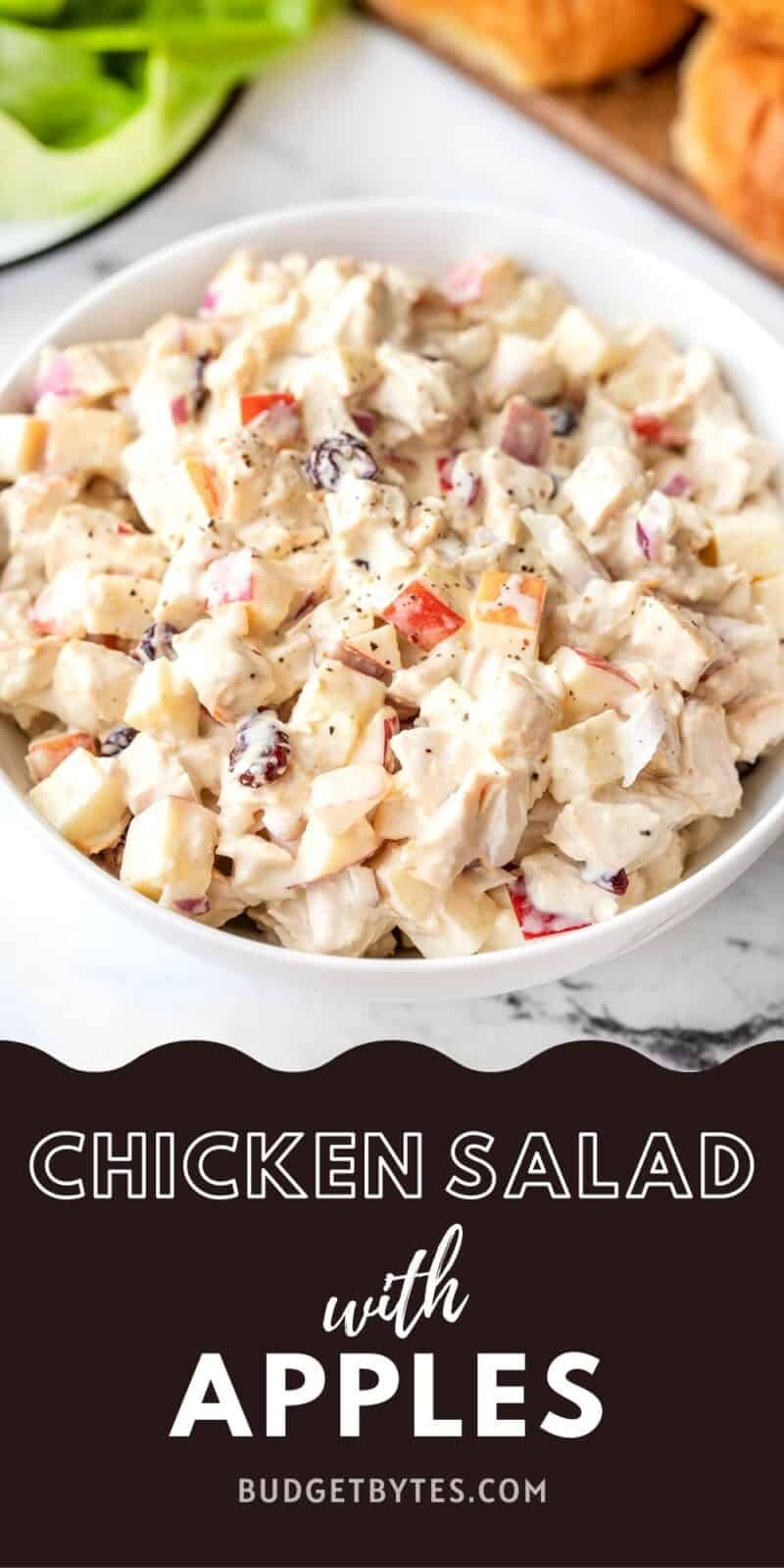 A bowl of chicken salad with apples, title text at the bottom