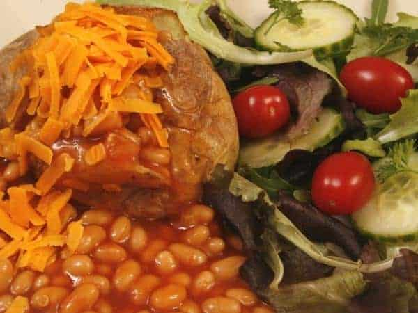 jacket potato cheese and beans with salad